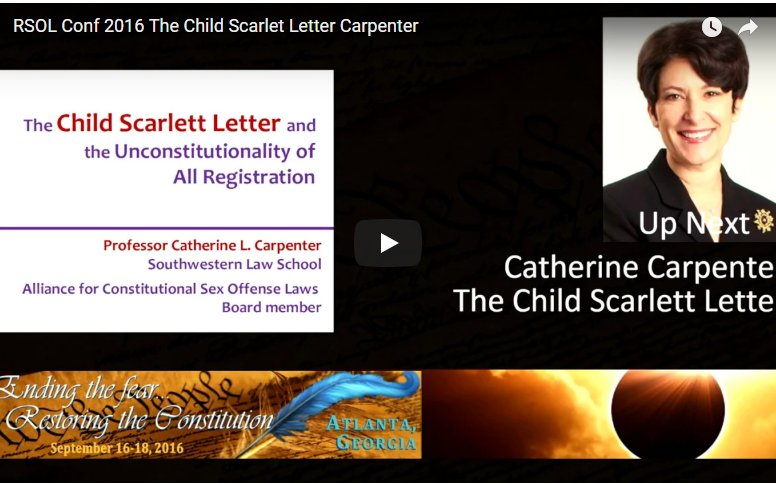 "RSOL Conference 2016 ""The Child Scarlet Letter"" by Prof. Carpenter"